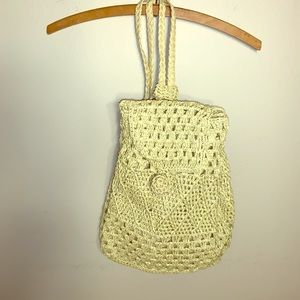 New straw drawstring backpack purse lined w/bonus